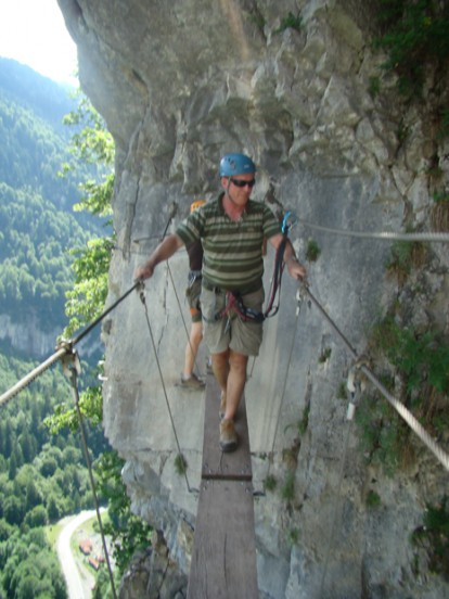 Swing bridge on Via Ferrata du Mont