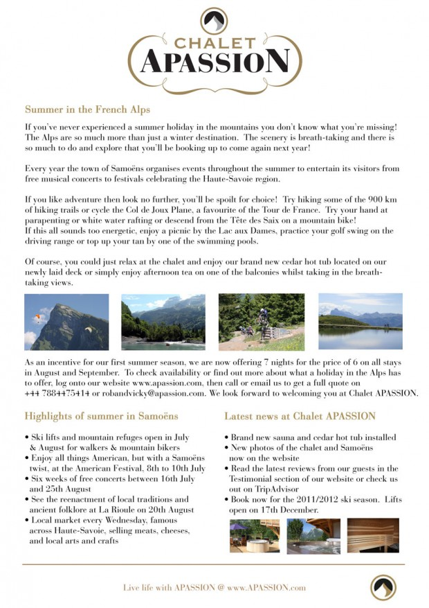 Chalet APASSION, Samoëns - Summer Newsletter