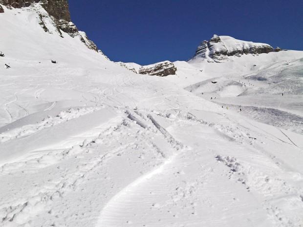 Fresh off-piste tracks in the Grand Massif